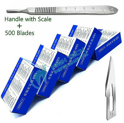 LOT OF 500 pcs STERILE SURGICAL BLADES #11 with 1 FREE SCALPEL KNIFE HANDLE #3