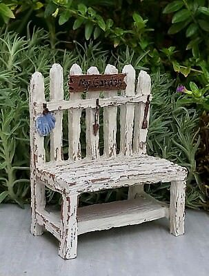 Miniature Dollhouse FAIRY GARDEN Accessories ~ Mini Picket Fence Potting Bench