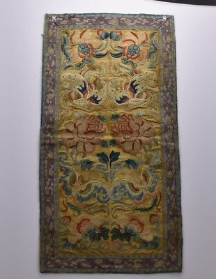 Chinese Antique Qing Dynasty Forbidden Stitch Textile Sleeves