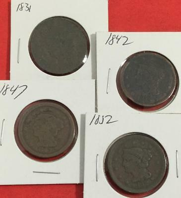 1831 1842 1847 & 1852 US LARGE CENTS Set of 4 Carded Coins!