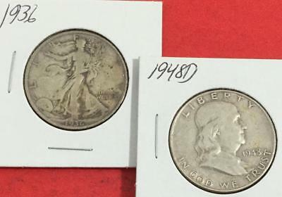 1936 Walking LIBERTY & 1948D US Franklin Half Dollars! Both SILVER Carded Coisns