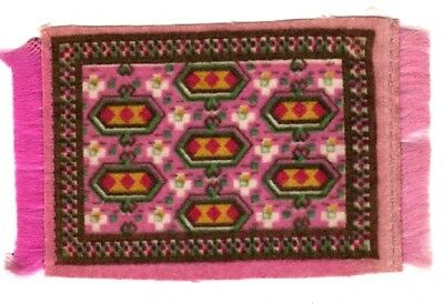 DOLLHOUSE MINIATURE CIRCA 1910 VINTAGE FRINGE TAPESTRY RUG 3 By 5 1/4 Pink Green