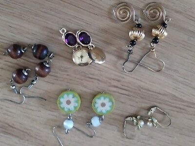 Lot of five (5) various earrings - dangle, post, leverback - gently used