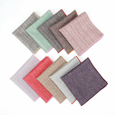 Mens Fashion Colorful Edge Pocket Square Cotton Handkerchief Wedding Hanky FT181