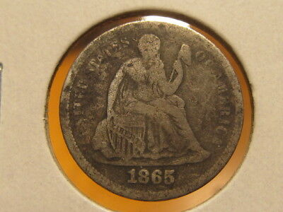 Rare F+ 1865-S Seated dime ... only 175,000 made ( abqq )