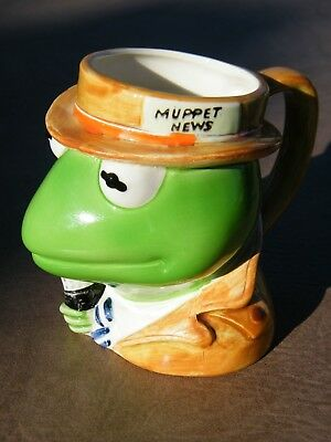 Kermit the Frog-MUPPET-NEWS-Reporter-Mug-Cup-By Sigma-Jim Henson-Coffee-Ceramic