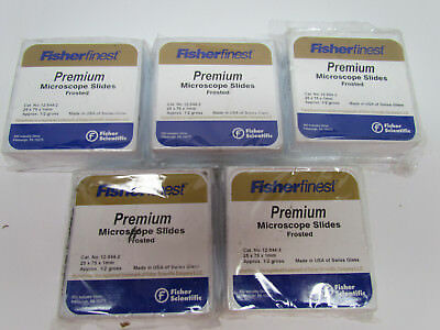 5 pack Fisher Scientific 12-544-2 Fisherfinest Premium Frosted Microscope Slides