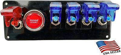 12V Switch Panel Black Powder Coat 4 Blue Switch/1 Red Switch/Push Start Button