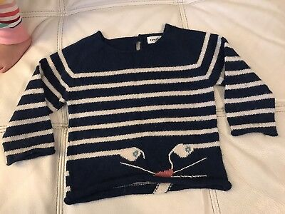 Oeuf Be Good Cat Sweater Blue Size 3 Years