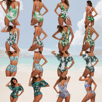 Womens One-piece Leaves Swimsuit Swimwear Push Up Monokini Bathing Suit Bikini