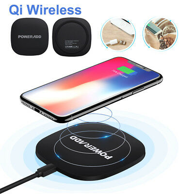 Poweradd Qi Wireless Fast Charger Pad Charging Dock for iPhone X 8 Samsung S8 S7