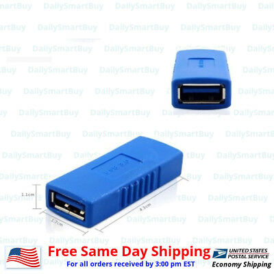 USB 3.0 Type A Female to Female Connector Adapter Coupler Gender Changer Blue