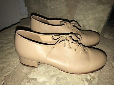 Bloch Women's Sz 9 Techno Tap #2H Beige Leather Lace Up Tap Dance Shoes