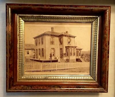 Weird & Fascinating Antique Victorian Framed Family Photo w/ House in Orig Frame