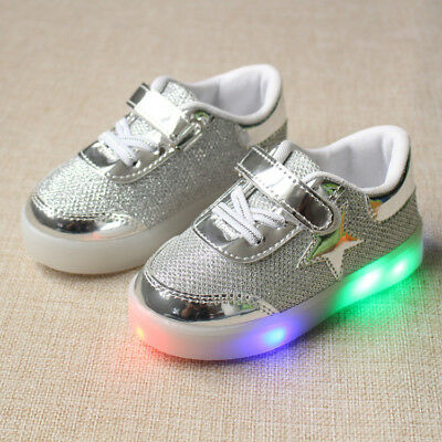Kids Boys Girls LED Luminous Trainers Shoes Light Up Sports Sneakers Children