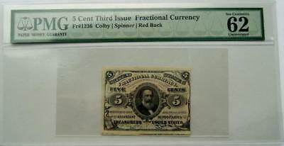 5 Cent Third Issue Fractional Currency FR#1236 Colby/Spinner Red Back PMG 62EPQ