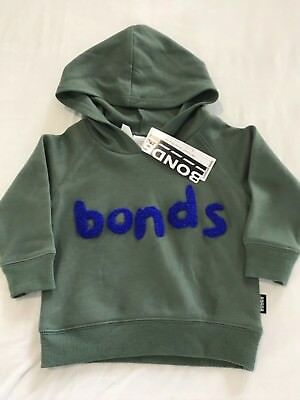 NWT Bonds Baby Boys Army Green Blue Fleece Hoodie Jumper Size 00/1/2 RRP$29.95
