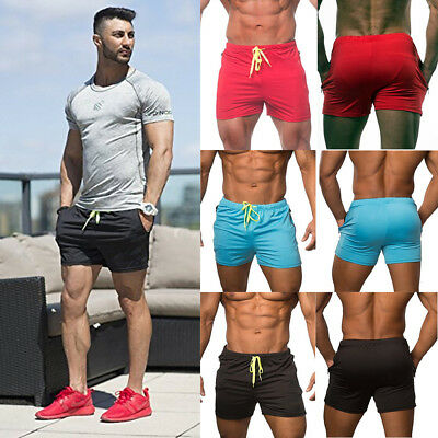 Mens Swim Fitted Shorts Bodybuilding Workout Gym Running Tight Lifting Shorts AU