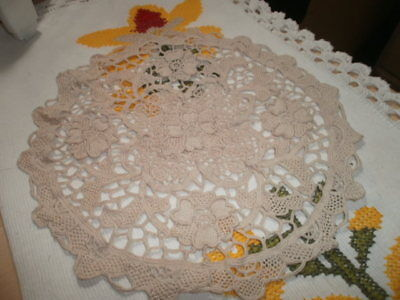 Antique Doily With Needle Lace Flora Five Flower Design Openwork Handmade