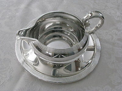Reed & Barton #100 silverplate GRAVY sauce BOAT w/underplate