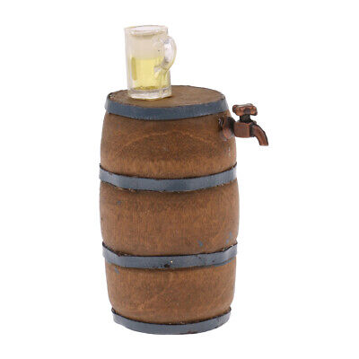1:12 Dollhouse Miniature Beer Barrel Beer Cask Beer Keg + Wine Glass Decor