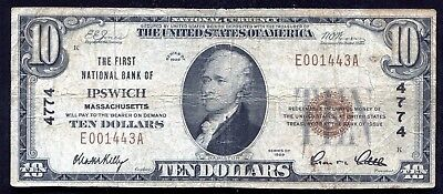 1929 $10 The First National Bank Of Ipswich, Ma National Currency Ch. #4774