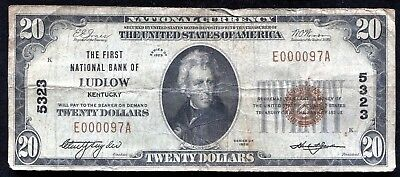 1929 $20 The First National Bank Of Ludlow, Ky National Currency Ch. #5323