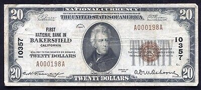 1929 $20 First National Bank In Bakersfield, Ca National Currency Ch. #10357