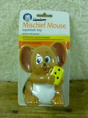 Vintage Gerber Squeeze Toy -Mischief Mouse (Birth to 18 months) 1987*BN