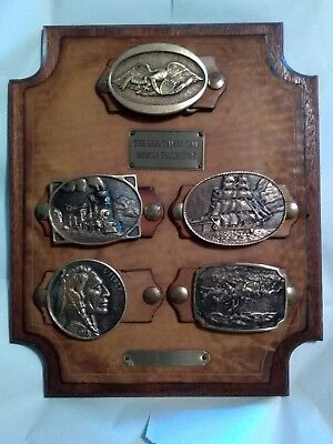 Vtg Brass Heritage Mint Great American Buckle Collection 1976 Wooden Plaque