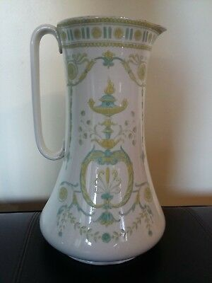 """Antique/vintage Pottery Large Green and Yellow Jug 13"""" Tall"""