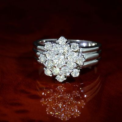 Wert 3.950,- Stilvoller Floraler 1,20 Ct Brillant Ring In 585 / 18 Kt Gold Gr 51