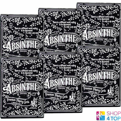 6 Decks Ellusionist Absinthe Prohibition V2 Playing Cards Magic Bicycle Box Case
