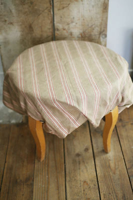 Rare antique French STOOL SLIP COVER ticking COTTON c 1900