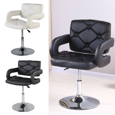 Black / White Quilted Leather Style Tub Barber Chair Beauty Hairdresser Salon