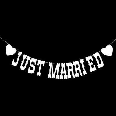 Banniere Banderole Just Married Blanc 3M Decoration Guirlande Mariage Fete Coeur