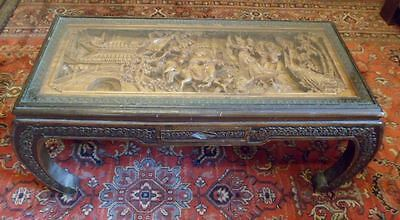 Exceptional coffee table asian wooden carved