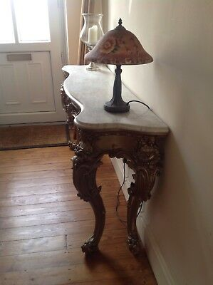 Antique gold baroque guilt / wood / marble top table, ideal for hallway