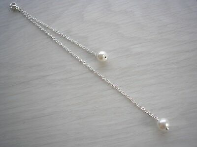 Simple Dainty Pearl Clip-on Back drop Attachment for a necklace Bridal Party 15N