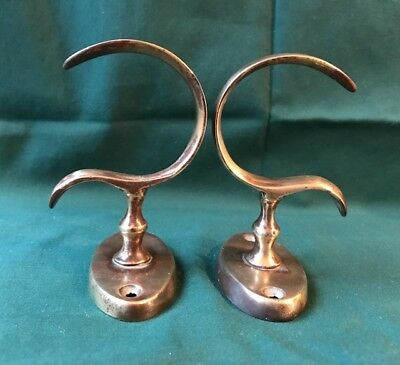 Pair Antique Late 18th Early 19th Century Brass Jamb Hooks Federal Regency