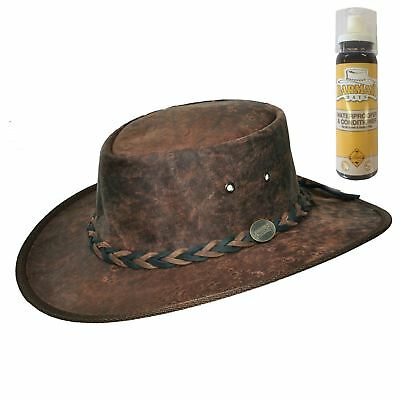 Barmah Kangaroo Leather Bush Hat Hickory Crackle Finish & FREE Conditioner Spray