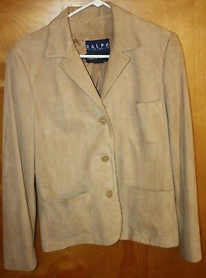 VINTAGE RALPH LAUREN Suede Leather Blazer sz 12  Bergdorf Goodman UNITE Mint USA