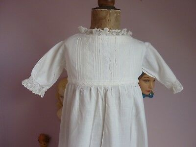 Vintage Cotton & Lace Baby Gown~Dress For Large Antique Doll~