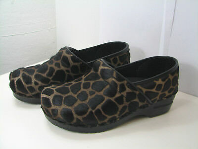6451e1e7072dd NEW IN BOX, Sanita Women's Calf Hair Animal Print Dark Brown Giraffe Mule  Clogs