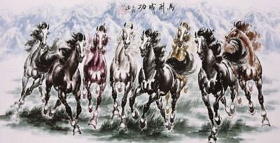 ORIGINAL ASIAN FINE ART CHINESE ANIMAL WATERCOLOR PAINTING-Success Horses Racing