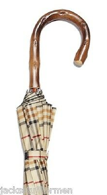 Harvy Tartans Congo Wood Natural Full Bark Crook Handle Tan Plaid Umbrella