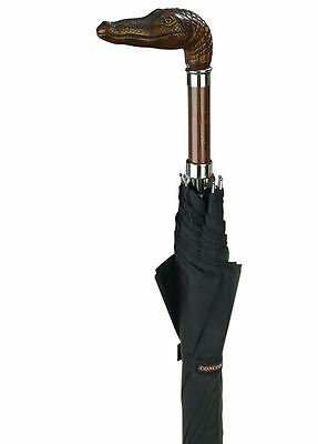 Concord Brown Alligator Head Handle Handcrafted Black Umbrella