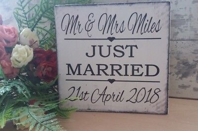 Personalised Wedding shabby & chic vintage Just Married sign names and date