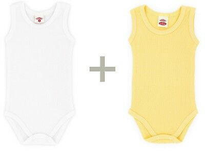 Pack of 2 Baby's Sleeveless Bodysuits Girls Boys Baby Cotton Mix colour up to 92