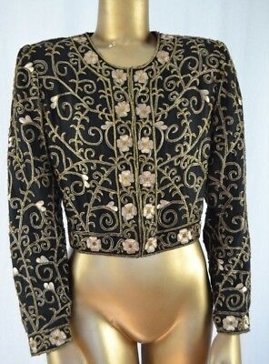 LAURENCE KAZAR Beaded & Embroidered Black & Gold Silk Evening Jacket S Cropped